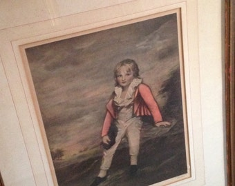 "Now on Sale- Framed Vintage Print of  ""Sir George Sinclair as a Boy""  by Sir Henry Raeburn"