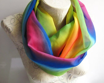 Rainbow Scarf, Rainbow Infinity Scarf, Rainbow Party Scarves, Women Birthday Gifts,  Gift for Her