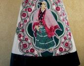 Samurai embroidery skirt, vintage batik tablecloth skirt, A-line skirt, floral skirt, lined, pale ocher green red raspberry, size Medium