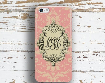 Vintage style phone case, Floral Pretty  Monogram Fits iPhone 4/4s 5/5s 6/6s 7 8 5c SE X and Plus, Womens winter fashion, Pink black (9636)