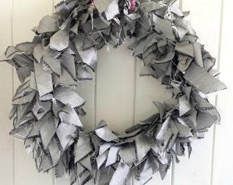 Silver dupion silk wreath