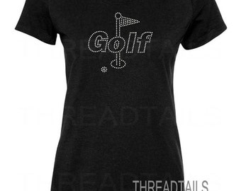 Rhinestone Bling Golf T-shirt for golfing enthusiasts, sports fans, golfers.  Ladies gift idea.  Sparkle tee, top, apparel, shirt, clothing.