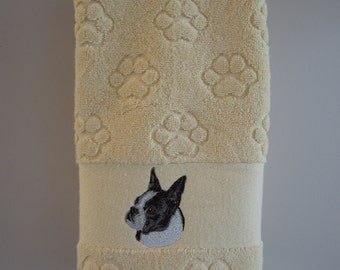 Boston Terrier embroidered paw print hand towel
