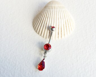 crystal belly ring, Belly ring dangle, red, belly ring button jewelry, Belly button ring, bellybutton ring,belly ring