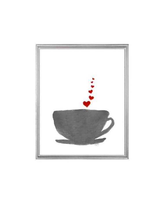 Retro Kitchen Art, 8x10 Watercolor Coffee Cup Print