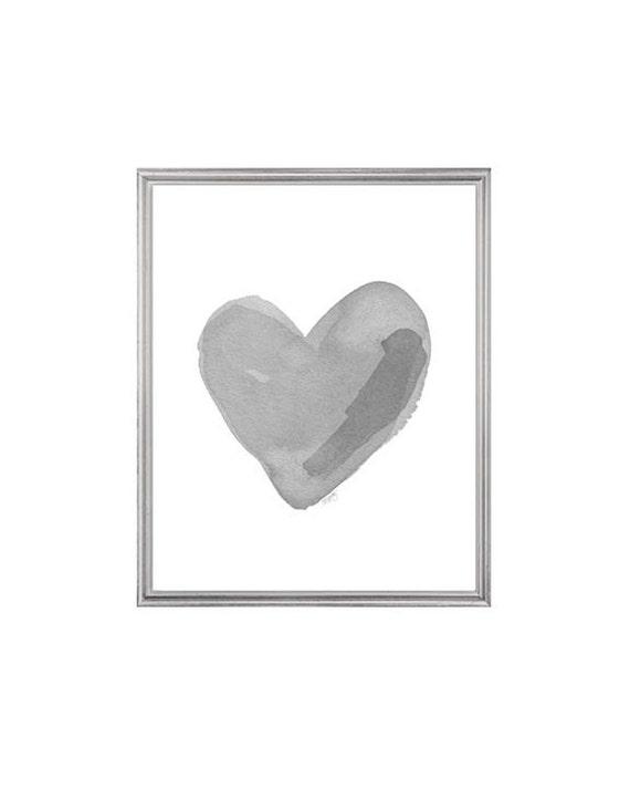 Charcoal Gray Heart Print, 8x10 Watercolor