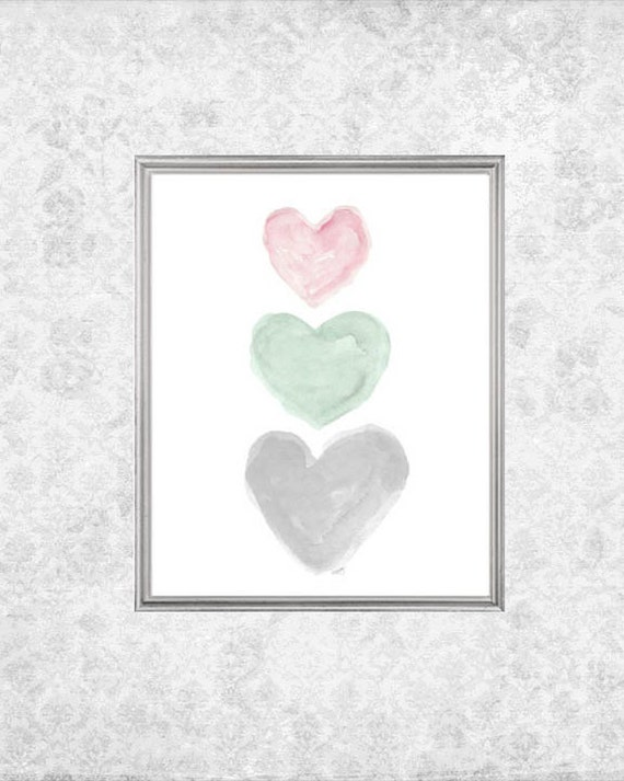 Pink, Mint and Gray Girls Print with Hearts, 8x10