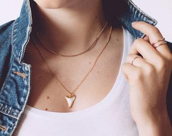 Mano Kihikihi necklace - gold shark tooth necklace, white gold shark tooth, gold dipped shark tooth necklace, beach, boho jewelry, hawaii