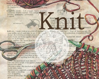 PRINT:  Knit Mixed Media Drawing on Antique Dictionary Page