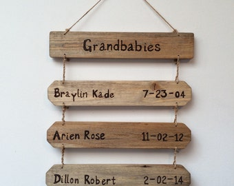 Grandchildren sign, name  and birthday sign, grandbabies birthday sign, grandkids birthday sign ,grandkids sign