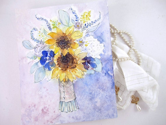 Wedding Gift Paintings: CUSTOM Wedding Bouquet Painting Unique Bridal Shower Gift