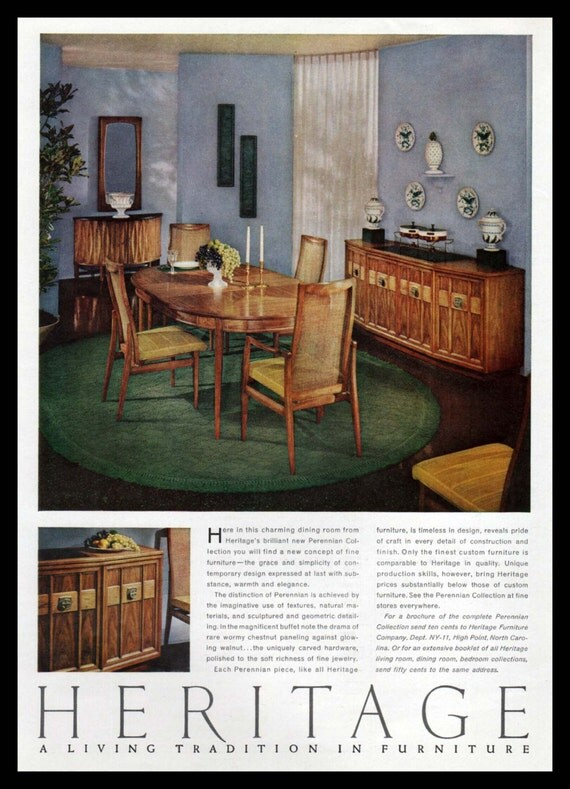 Items Similar To Heritage Perennian Dining Room Furniture Original Print Ad High Point North