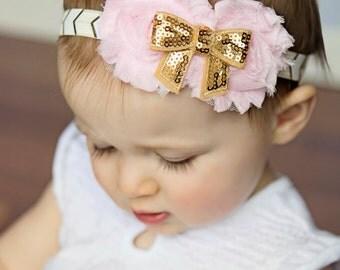 Baby Headband, Pink and Gold Headband, Pink Flower Headband, Baby Girl Headbands, Newborn Headband, Infant Headband, Easter Headband