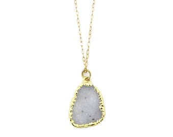 Gold Druzy Necklace Druzy Crystal Necklace Stone Necklace