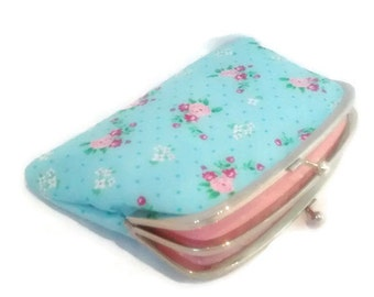 Coin purse - Blue ditsy metal frame purse with 2 compartments - cath kidston fabric floral and Pink polka dots