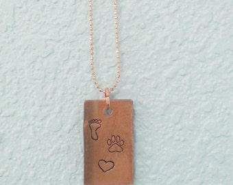 Paw Print Heart necklace Pet lover Necklace Foot print pet memorial necklace recycled copper hand stamped CUSTOM
