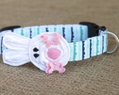 Easter Bunny Dog Collar - White Bunny on Blue
