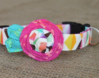 Dog Collar - Multicolored Print with Pink Flower and Aqua Leaves