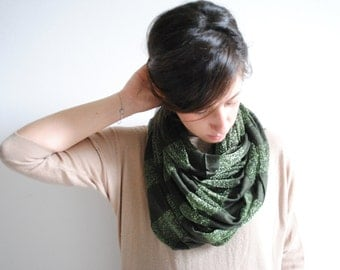Olive Green Striped Infinity Scarf - Chunky Scarf - Cowl Scarf - Chuncky Infinity Scarf - Gift for her