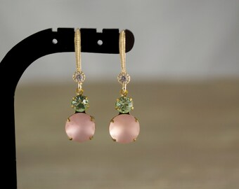 Glass Earrings. Vintage Glass Round Stones. Frosted Pink & Chrysolite. Gold Plated Cubic Zirconia Earwires. Pink Jewelry. Petite Earrings