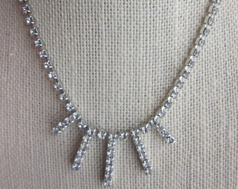 SALE Vintage Rhinestone Necklace in Silver Setting, Bridal, Wedding, Bridesmaid, Engagement Jewelry, Prom, Cinderella -