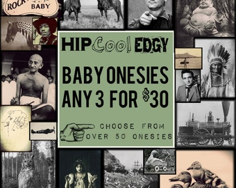 "BABY ONESIES  *Set of  Any 3 for 30 Dollars*  Cool Hip Edgy Baby Onesies. Check Shop Section ""Baby Clothes"" for Choices to Create Your Set!"
