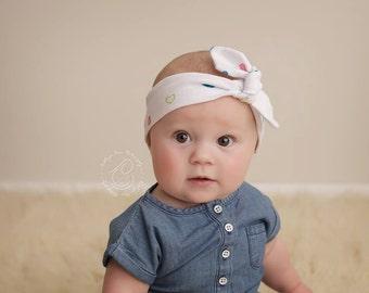 SALE- Heart Knit Headband, Baby Headband, Top Knot Headband, Wrap Headband, Turban Headband, Knot Headband, Heart Baby Headband, Headband