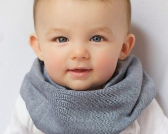 "Modern Bib (Indigo Chambray) All in One Scarf & Bib ""Scabib for babies or toddlers"