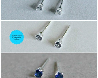 Stud Earring Set - Tiny Stud Earrings 3mm Birthstone Colors Choose Your Color Small Birthday Gift