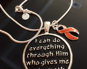 I Can Do Anything Pendant - Leukemia, multiple sclerosis, kidney cancer awareness necklace - MS