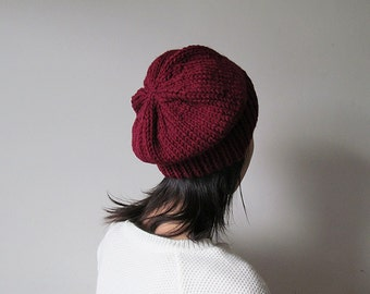 Burgundy Slouchy Hat, Hand Knit Chunky Slouch Hat, Women Knit Hat, Wool Blend Hat, Seamless Winter Beanie, Gift for Her, Made to Order
