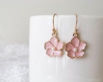 Pink Flower Earrings - Sakura Flower Earrings - Polished Gold Plated Over Brass - Cherry Blossom Floral Earrings