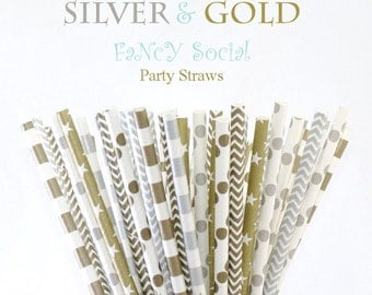 SILVER & GOLD- 50 Fancy Social Paper Party Straws a  Mix of Circles/ Stripes / Dots / Chevron and Stars  also used as Cake Pop Sticks