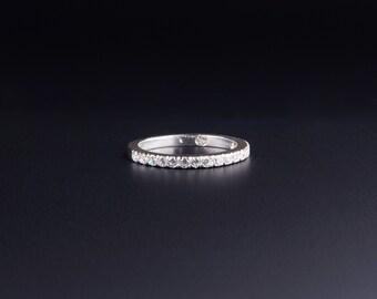 Cubic Zirconia 2mm Half Eternity Sterling Silver Ring