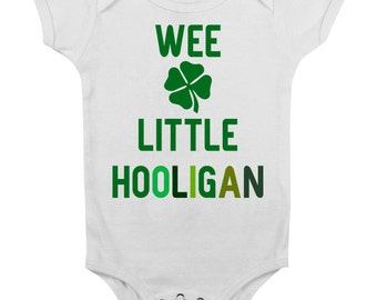 St Patricks Day Baby Onesie Outfit Cute Clothes for Girl Boy Lucky 6 12 Months Green Toddler Newborn Cute Funny Irish Wee Little Hooligan