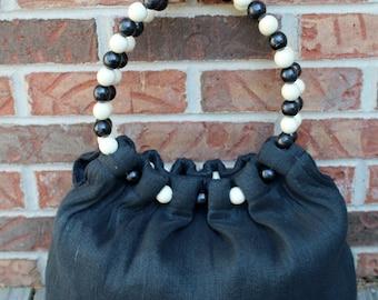Vintage Black Wooden Beaded Handle Shoulder Bag Purse