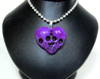Purple Skull Heart / Till death do us part / skull jewelry / morbid love gift / Sculpted Pendant / metallic purple / Polymer clay / gothic