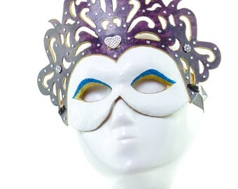 KALI - White and Purple Venetian Oriental Styled Mask