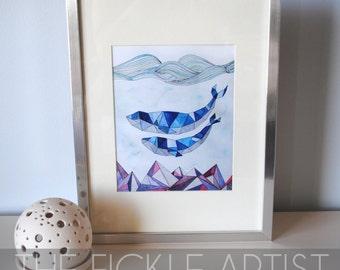 Geometric Watercolor Whales Print