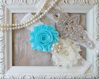 CUSTOMIZABLE Garter Set / Wedding Garter / Aqua Blue Garter / Bridal Garter / Vintage Garter / Toss garter / Lace Garter