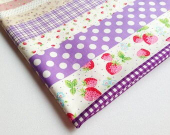 Quit Fabric Purple Delicious Juicy StrawBerry in Garden, Red Strawberry Vines, Gingham, Girl Dress, Kitchen Curtain, Tablecloth Pillow CT189