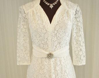 Lace Boho Vintage 1970 German Made Wedding/ Confirmation/Graduation Dress