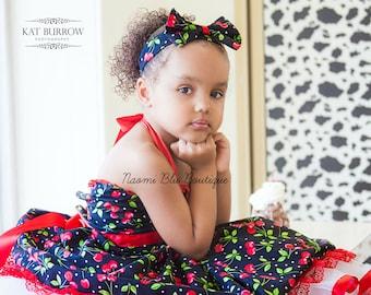 1950s Rockabilly Pin up Style Cherry Print Headband Hairbow. Flower Girl. Wedding. Pageant. Costume. Tea Party. Birthday Head band Hair bow