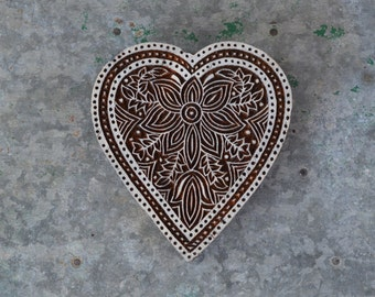 Heart stamp Indian carved wooden printing batik stamp hand made traditional henna stencil wood block fabric print lotus flower material