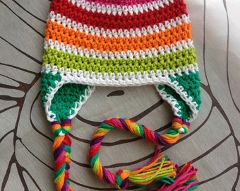Rainbow stripes crocheted hat with ear flaps and braids