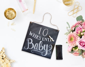 Baby Countdown Sign-  Baby Chalkboard - Chalkboard Art - Pregnancy Announcement - Gift For Mom To Be