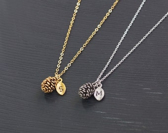 Personalized Pine Cone Necklace with Leaf Initial Charm, Personalized Necklace, Long Layered Necklace