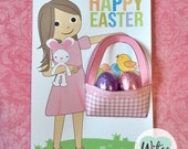 Witee Easter Basket Card - Brown Hair Girl