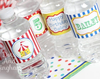 Circus Water Bottle Labels Printable Carnival Water Bottle Labels Circus Water Labels Carnival Water Wraps Circus Party Carnival Party Drink