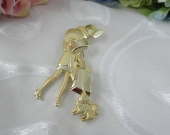 Lovely Gold Tone Shopping Girl with a Puppy Brooch - Classic and Elegant - Shopaholic - Hat Box - Puppy - Shop Girl - Shopping